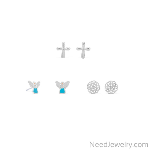 Item # [sku} - Angel, Flower and Cross Earring Set on NeedJewelry.com