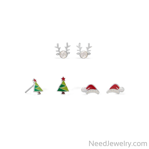 Item # [sku} - Reindeer, Santa Hat and Tree Earring Set on NeedJewelry.com