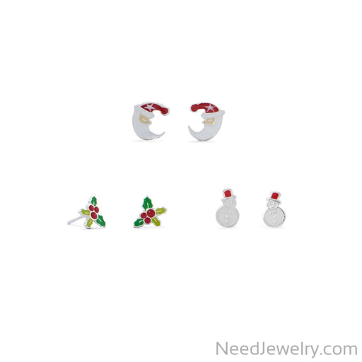 Item # [sku} - Santa, Holly and Snowman Earring Set on NeedJewelry.com