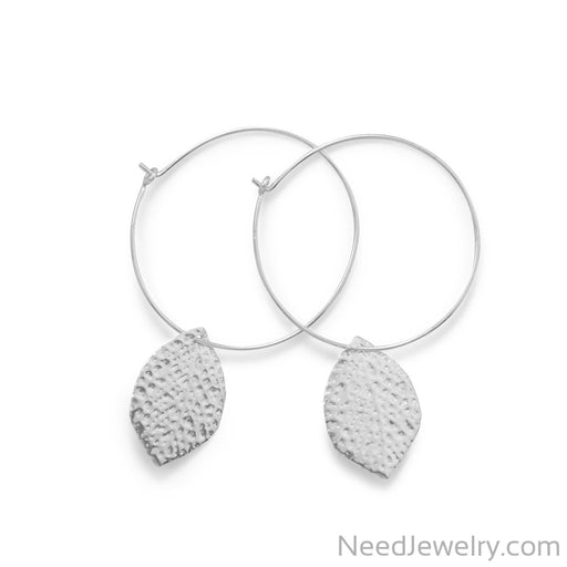 Item # [sku} - Hoop with Leaf Drop Earring on NeedJewelry.com
