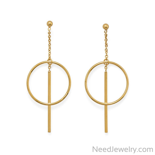 Item # [sku} - 14 Karat Gold Plated Long Bar w/Circle Post Earrings on NeedJewelry.com
