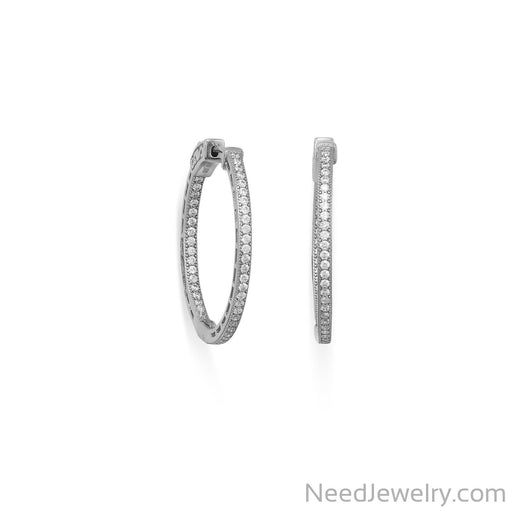 Item # [sku} - Rhodium Plated Round In/Out CZ Hoop Earrings on NeedJewelry.com
