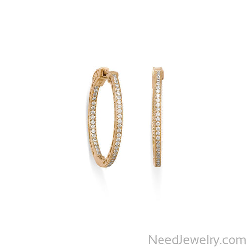 Item # [sku} - 14 Karat Gold Plated Round In/Out CZ Hoop Earrings on NeedJewelry.com