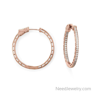 Item # [sku} - 14 Karat Rose Gold Plated Round In/Out CZ Hoop Earrings on NeedJewelry.com