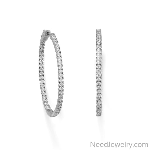 Item # [sku} - Rhodium Plated Oval In/Out CZ Hoop Earrings on NeedJewelry.com