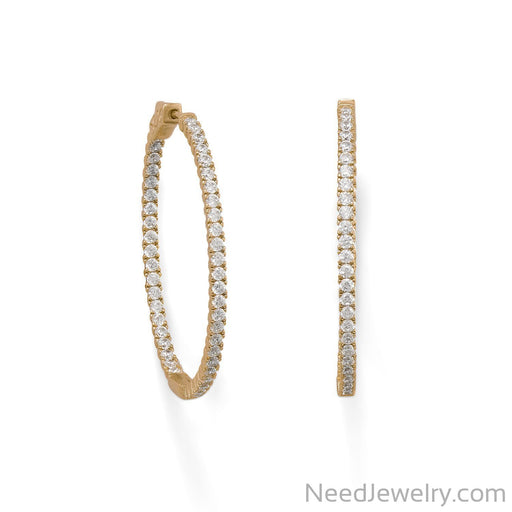 Item # [sku} - 14 Karat Gold Plated Oval In/Out CZ Hoop Earrings on NeedJewelry.com