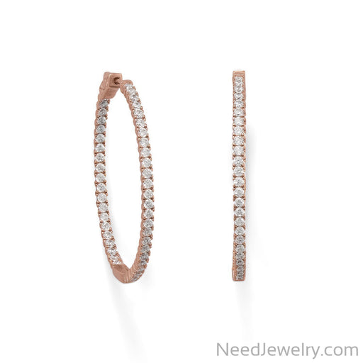 Item # [sku} - 14 Karat Rose Gold Plated Oval In/Out CZ Hoop Earrings on NeedJewelry.com
