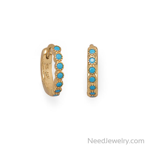 Item # [sku} - 14 Karat Gold Plated Turquoise CZ Hoop Earrings on NeedJewelry.com
