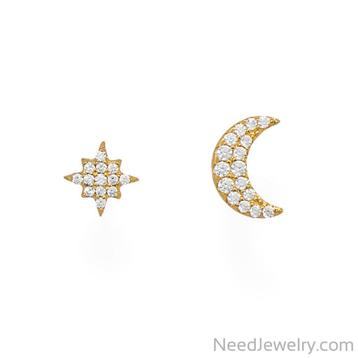 Item # [sku} - 14 Karat Gold Plated CZ Moon and Star Stud Earrings on NeedJewelry.com
