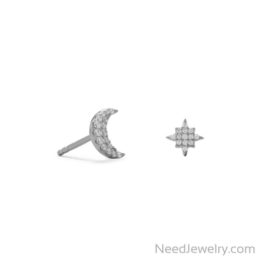 Item # [sku} - Rhodium Plated CZ Moon and Star Stud Earrings on NeedJewelry.com