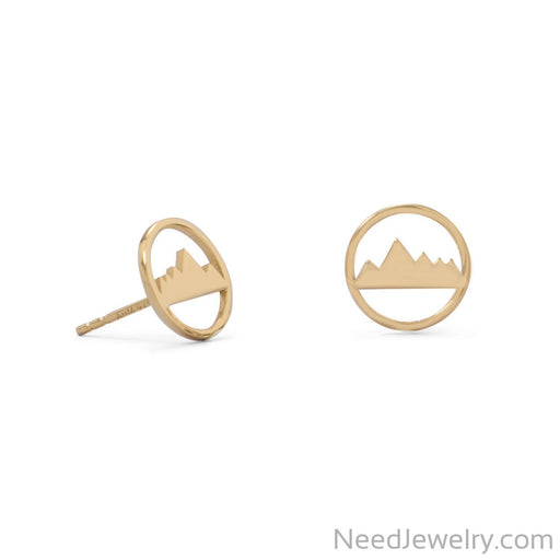 Item # [sku} - Gold Plated Mountain Range Earrings on NeedJewelry.com