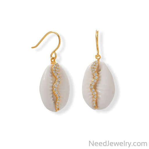 Item # [sku} - 14 Karat Gold Plated Shell and CZ Snake Earrings on NeedJewelry.com