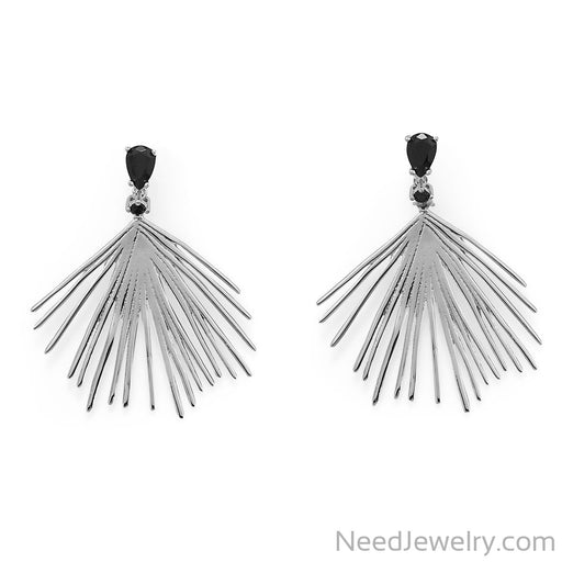 Item # [sku} - Black CZ Wire Fan Post Earrings on NeedJewelry.com