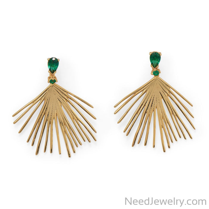 Item # [sku} - Green CZ Wire Fan Post Earrings on NeedJewelry.com