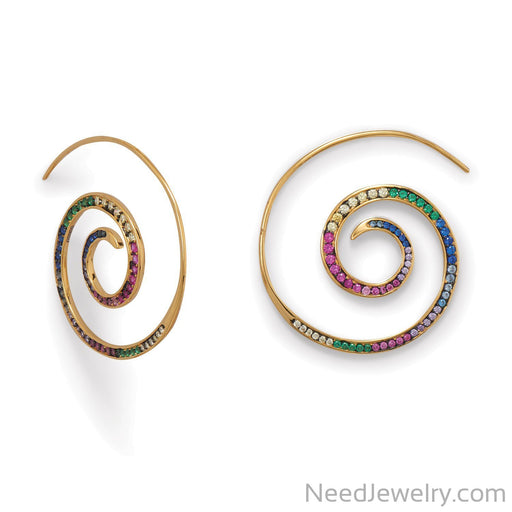 Item # [sku} - Hypnotic Multi Color CZ Spiral ER on NeedJewelry.com