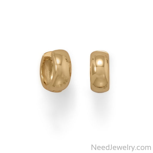 Item # [sku} - 14 Karat Gold Plated Wide Hugging Hoop Earrings on NeedJewelry.com