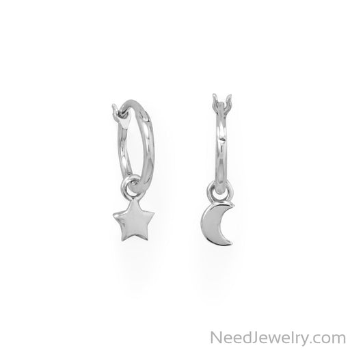 Item # [sku} - Rhodium Plated Moon and Star Charm Hoop Earrings on NeedJewelry.com