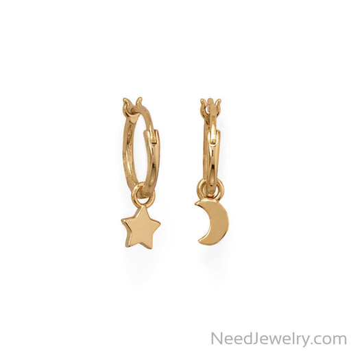 Item # [sku} - 14 Karat Gold Plated Moon and Star Charm Hoop Earrings on NeedJewelry.com