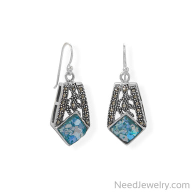Item # [sku} - Oxidized Marcasite and Roman Glass Earrings on NeedJewelry.com