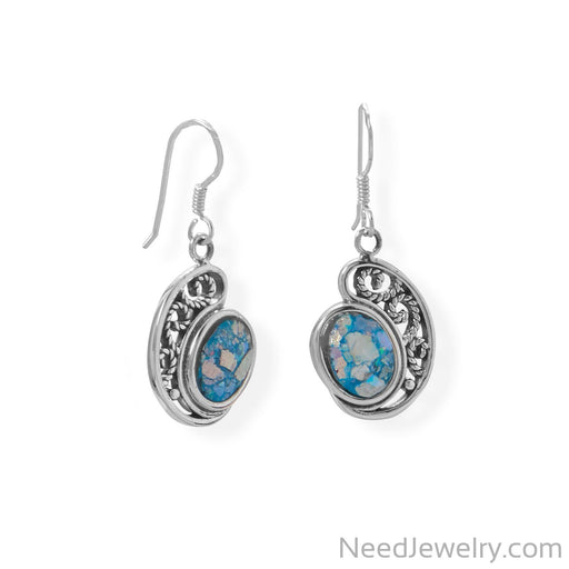 Item # [sku} - Oxidized Paisley Shape Roman Glass Earrings on NeedJewelry.com
