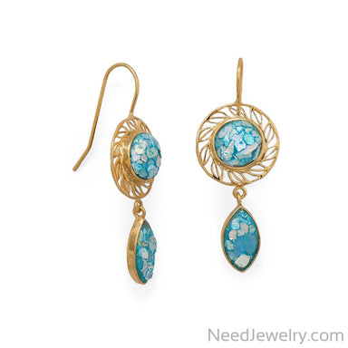 Item # [sku} - 14 Karat Gold Plated Roman Glass Drop Earring on NeedJewelry.com