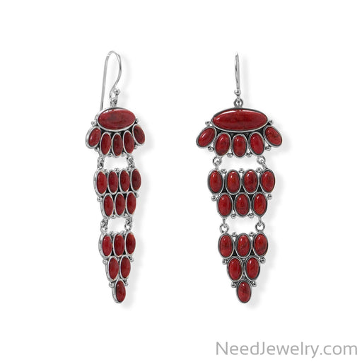 Item # [sku} - Tiered Dyed Red Coral Earring on NeedJewelry.com