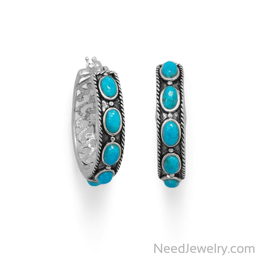 Item # [sku} - Ornate Oxidized Turquoise Hoop Earring on NeedJewelry.com