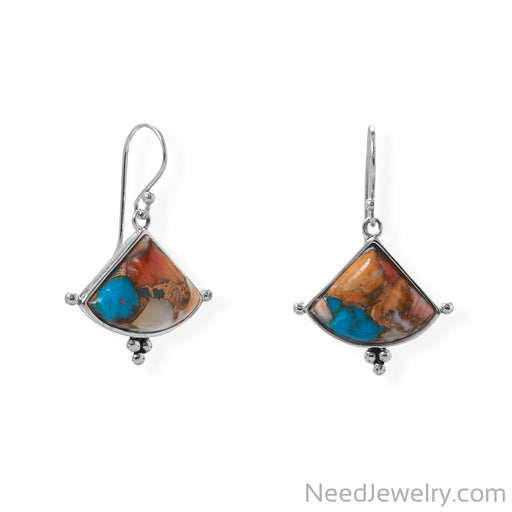 Item # [sku} - Spiny Oyster and Turquoise Triangle Shaped Earrings on NeedJewelry.com