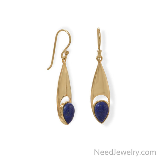 Item # [sku} - 14 Karat Gold Plated Pear Shaped Lapis Earrings on NeedJewelry.com
