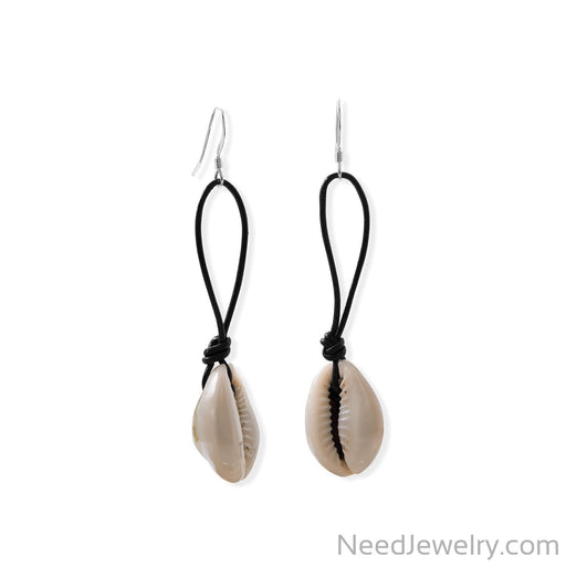 Item # [sku} - Cowrie and Leather French Wire Earrings on NeedJewelry.com