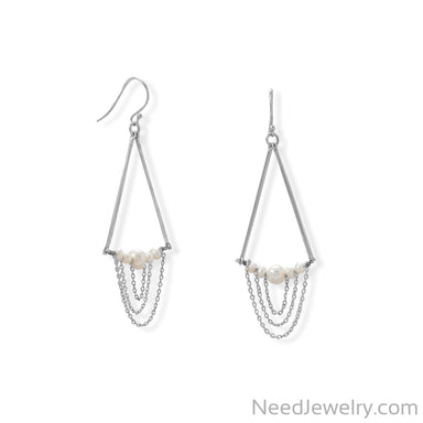 Item # [sku} - Cultured Freshwater Pearl and Bar Chain Drop Earring on NeedJewelry.com