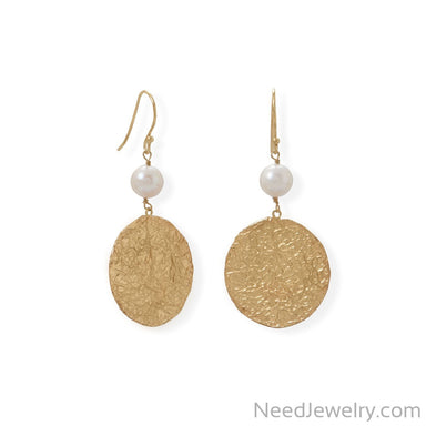 Item # [sku} - 14 Karat Gold Plated Cultured Freshwater Pearl and Large Disk Earring on NeedJewelry.com