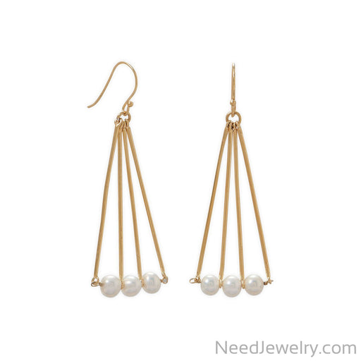 Item # [sku} - 14 Karat Gold Plated Geometric and Cultured Freshwater Pearl Earring on NeedJewelry.com