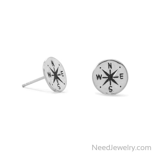 Item # [sku} - Keep It Moving! Hammered Compass Stud Earrings on NeedJewelry.com
