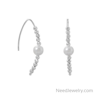 Item # [sku} - Diamond Cut Bead and Pearl Wire Earring on NeedJewelry.com