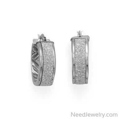 Item # [sku} - Rhodium Plated Glitter Hoops on NeedJewelry.com