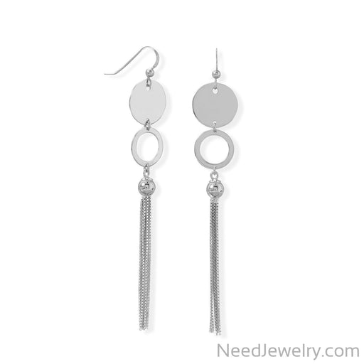 Item # [sku} - Rhodium Plated Disk and Circle Long Tassel Earring on NeedJewelry.com