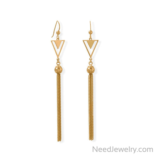 Item # [sku} - 14 Karat Gold Plated Triangle and Tassel Earring on NeedJewelry.com