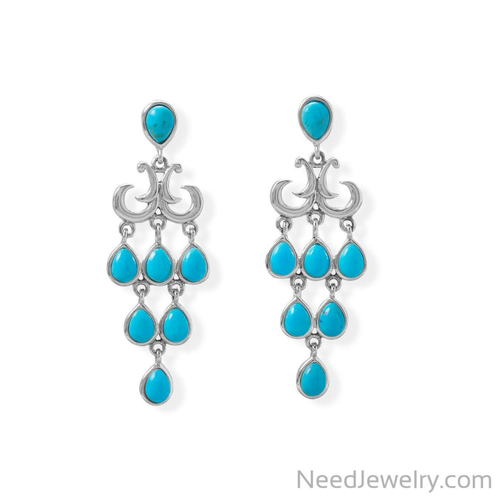 Item # [sku} - Pear Shaped Reconstituted Turquoise Chandelier Earring on NeedJewelry.com