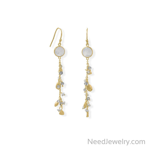 Item # [sku} - 14 Karat Gold Plated Rainbow Moonstone, Labradorite and Pearl Drop Earring on NeedJewelry.com