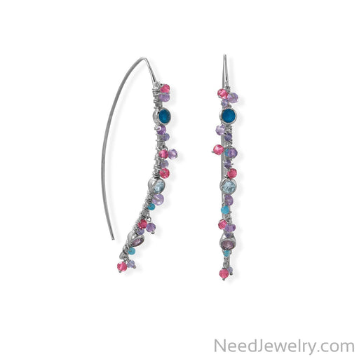Item # [sku} - Rhodium Plated Marquis Wire Beaded Earring on NeedJewelry.com