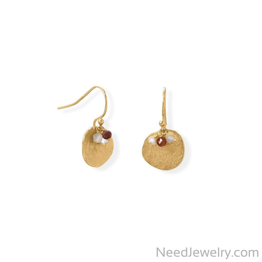 Item # [sku} - 14 Karat Gold Plated Garnet, Labradorite and Pearl Disk Earring on NeedJewelry.com