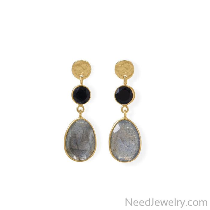 Item # [sku} - 14 Karat Gold Plated Black Onyx and Labradorite Post Earring on NeedJewelry.com