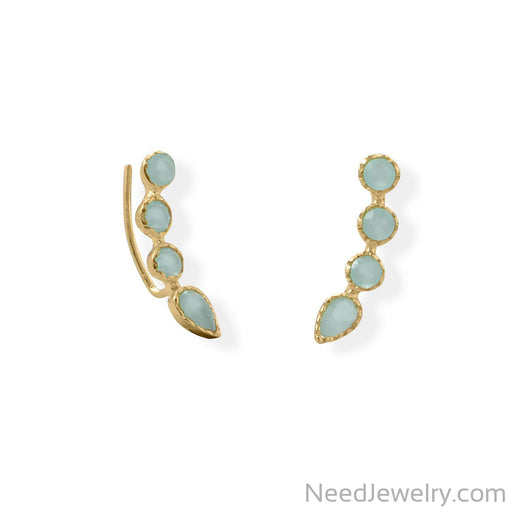 Item # [sku} - 14 Karat Gold Plated Aqua Chalcedony Ear Climber on NeedJewelry.com