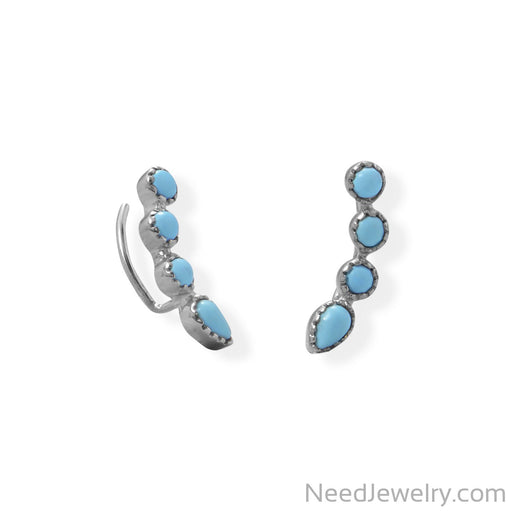 Item # [sku} - Rhodium Plated Synthetic Turquoise Ear Climber Earring on NeedJewelry.com