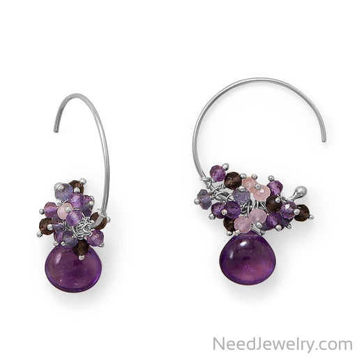 Item # [sku} - Rhodium Plated Amethyst, Multi Stone Beaded Wire Earring on NeedJewelry.com