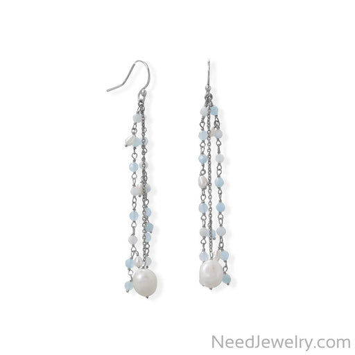 Item # [sku} - Aquamarine and Cultured Fresh Water Pearl French Wire Earring on NeedJewelry.com