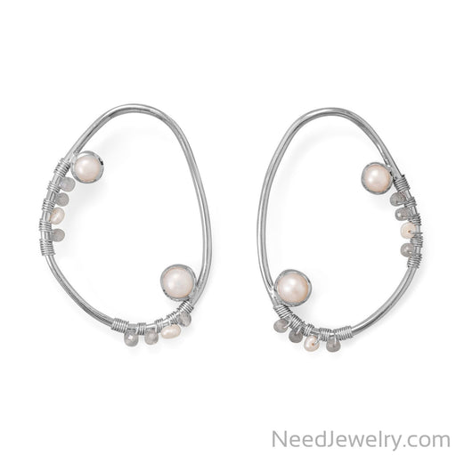Item # [sku} - Large Open Cultured Fresh Water Pearl and Labradorite Post Earring on NeedJewelry.com
