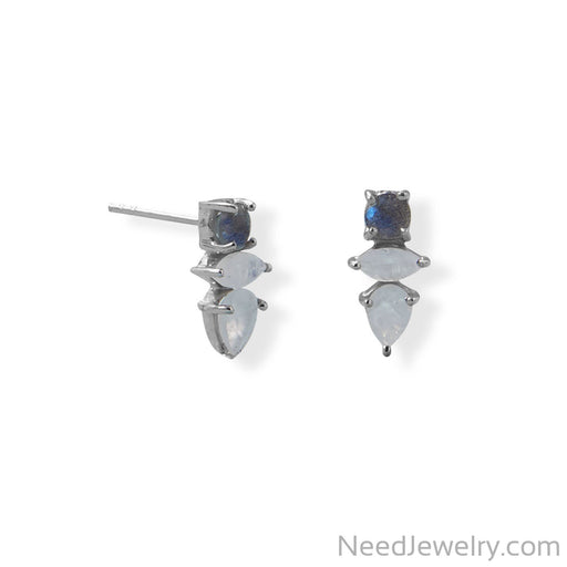 Item # [sku} - Rhodium Plated Labradorite and Rainbow Moonstone Post Earring on NeedJewelry.com