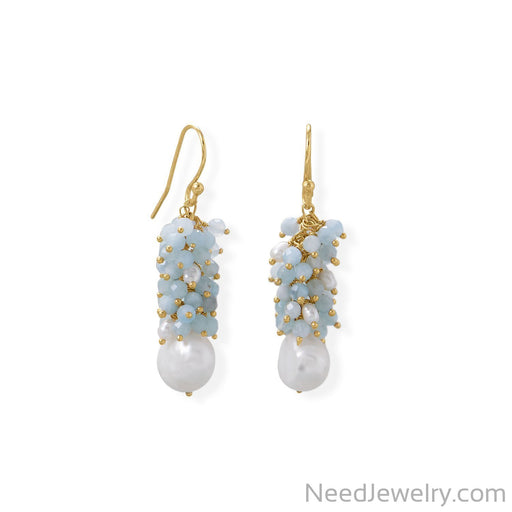 Item # [sku} - 14 Karat Gold Plated Aquamarine and Cultured Freshwater Pearl Earring on NeedJewelry.com